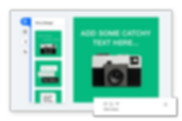 Editor for creating your own social post featuring a green background a vintage camera.