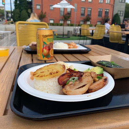 Hawaiian and tropical food dish at restaurant in Oklahoma City