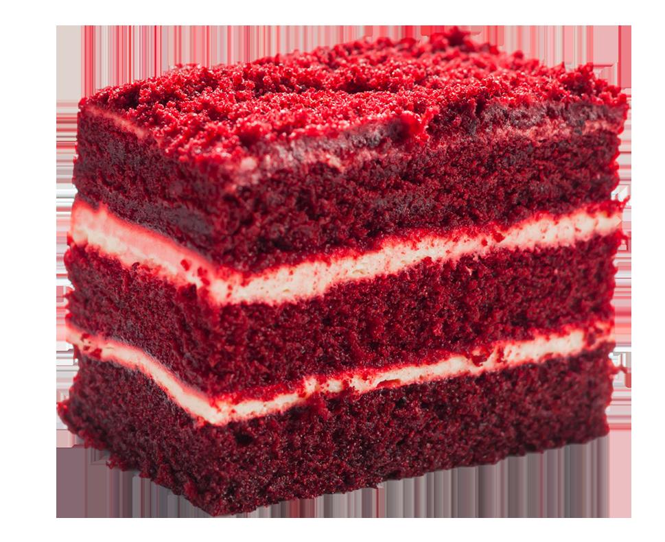 A slice of Red Velvet cake from a Custom birthday cake