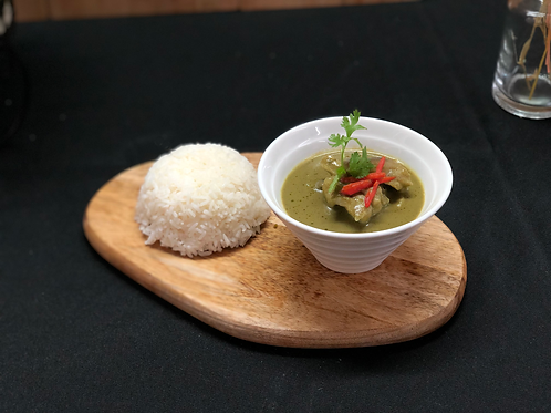 Thai Green Curry Chicken with Steamed Rice