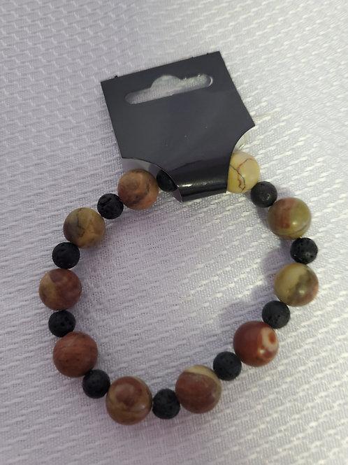 Chinese Jasper and Lava Stone Bracelet
