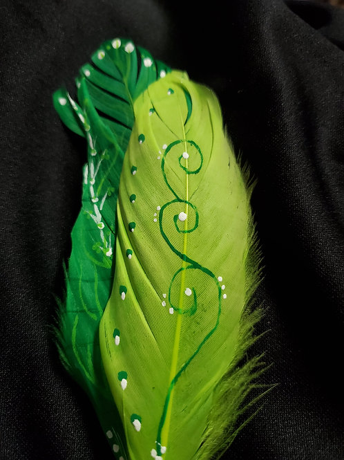 Tall Green  & Yellow Smudge Feather
