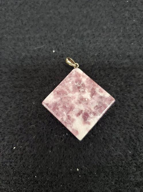 Lepidolite Square Pendent