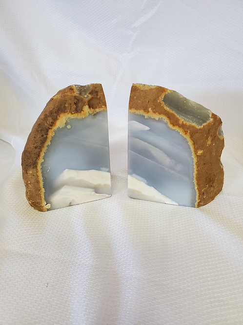 Blue Agate Book Ends