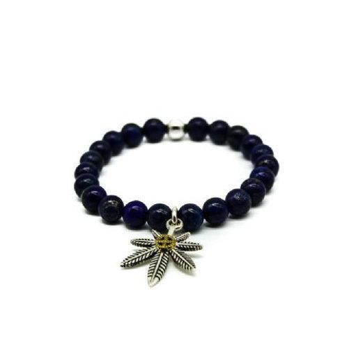 Gleam Blue Tiger Eye Silver Leaf Bracelet