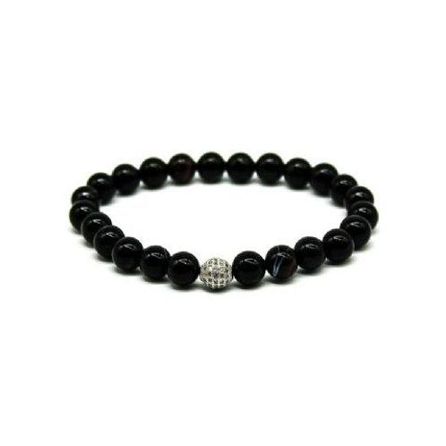 Gleam Strip Onyx Zirconia Silver Bracelet