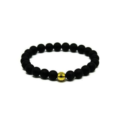 Gleam Mat Onyx Gold Drop Bracelet
