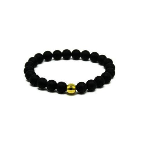 Gleam Mat Onyx Gold Drop Bracelet