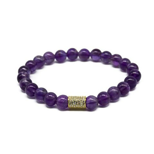 Gleam Amethyst Gold Long Bracelet