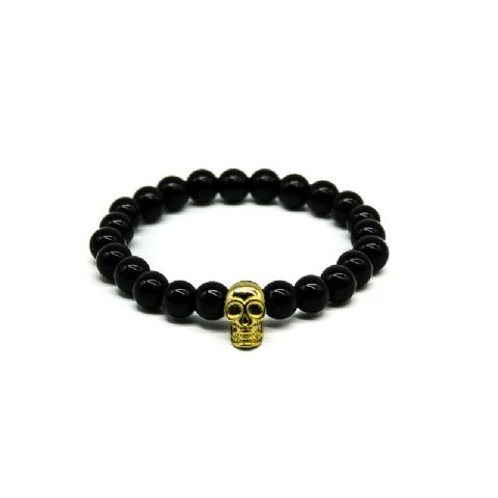 Gleam Onyx Gold Skull Bracelet