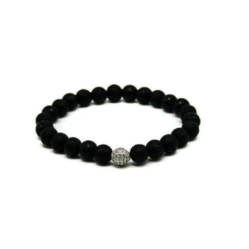 Gleam Mat Onyx Zirconia Silver Bracelet