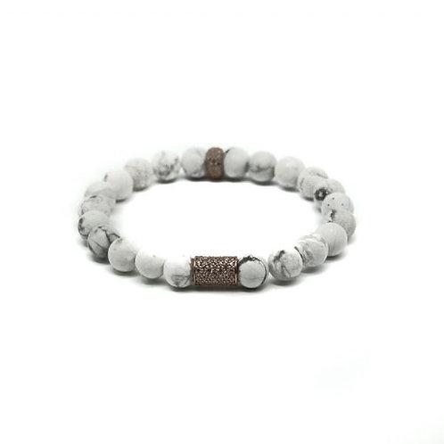 Gleam Howlite Silver Long Bracelet