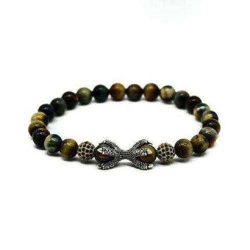 Gleam Grey Tiger Eye Gold Durables & Claw Bracelet