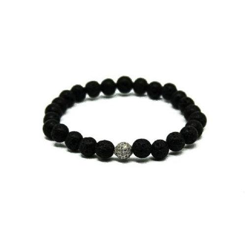 Gleam Lava Stone Zirconia Silver Bracelet