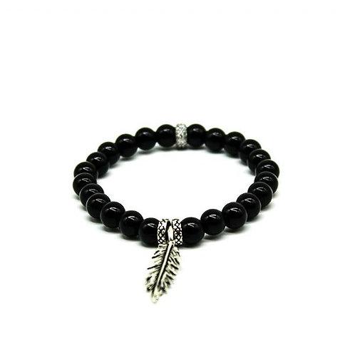 Gleam Onyx Silver Leaf Bracelet
