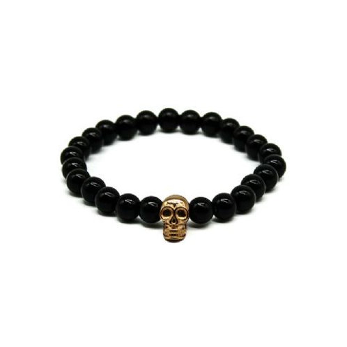 Gleam Onyx Rose Gold Skull Bracelet