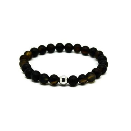 Gleam Black Agate Silver Drop Bracelet