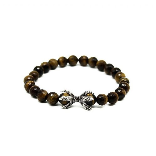 Gleam Tiger Eye Fst Silver Claw Bracelet