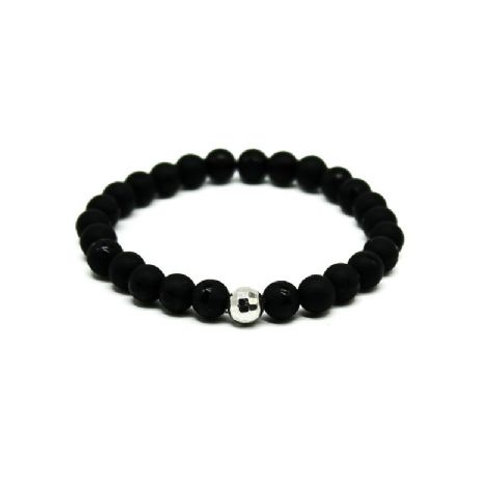 Gleam Mat Onyx Silver Drop Bracelet