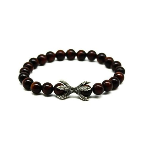 Gleam Red Tiger Eye Silver Claw Bracelet
