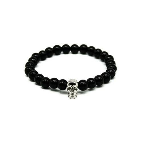 Gleam Onyx Silver Skull Bracelet