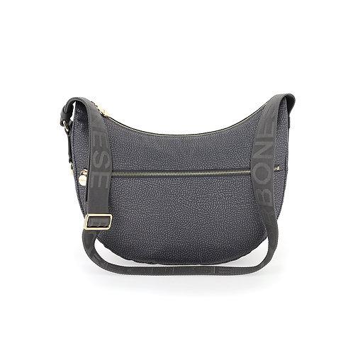 BORBONESE. Luna Bag Middle. Sustainable Selection. Recycled Nylon Hobo Bag