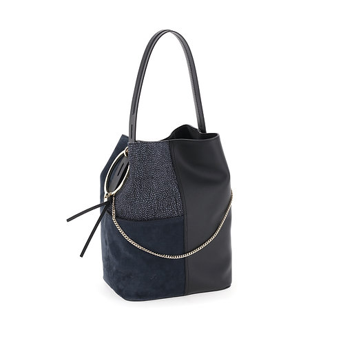 BORBONESE. Leather mix bucket bag.