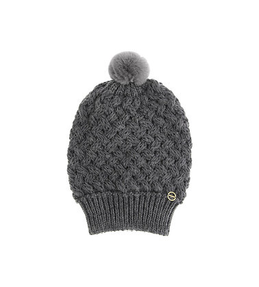 BORBONESE. Wool-Blended Beanie with Pompoms. Dark Grey.
