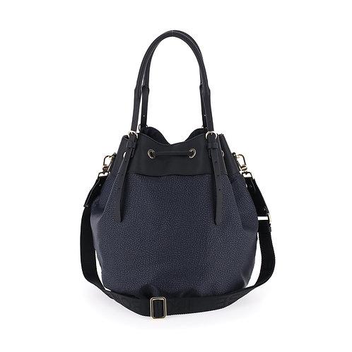 BORBONESE. New Classica Medium. Sustainable Selection. Recycled Nylon Bucket Bag