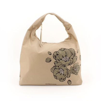 BORBONESE. Large Hobo Bag in Canvas with Peony.
