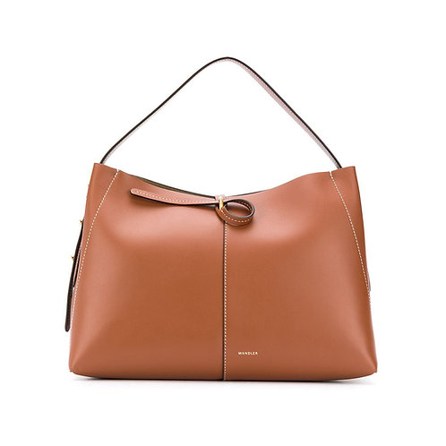 WANDLER. Ava Tote Medium. Tan / White Stitch
