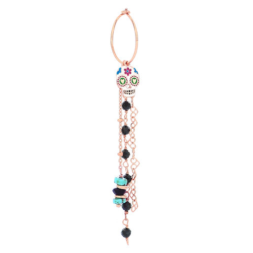 MAMAN ET SOPHIE TULUM. Skull Hoop Earring with Stones and Chains