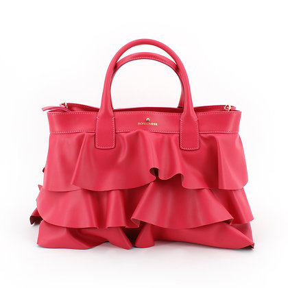 BORBONESE. Leather Shopping Bag with Rouches.