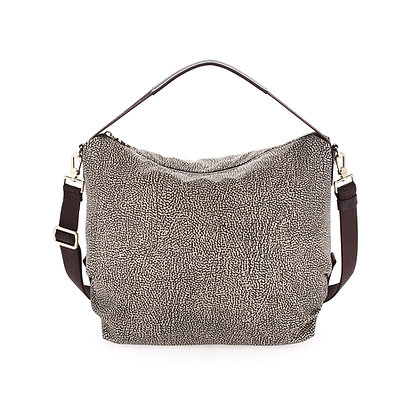 BORBONESE. Medium Hobo Bag OP Natural.