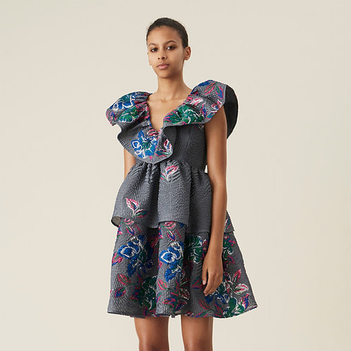 GANNI. Crinkled Jacquard Ruffled V-Neck Mini Dress