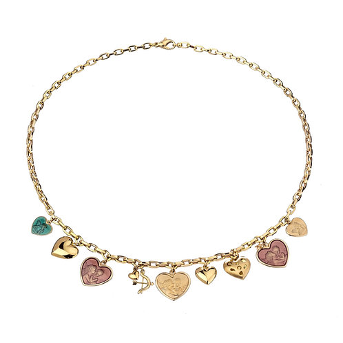 PIPPO PEREZ. Necklace Charms Hearts in 18kt Gold with Diamonds