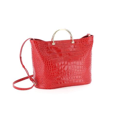 BORBONESE. Python-print Leather Handbag