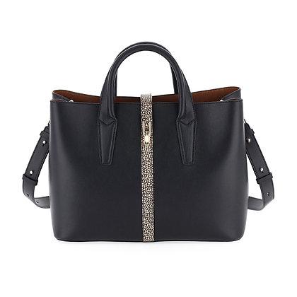 BORBONESE. Printed Calfskin Classy Handbag Large.