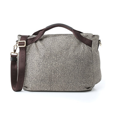 BORBONESE. Medium Handbag in OP Jet. Natural OP/Brown.