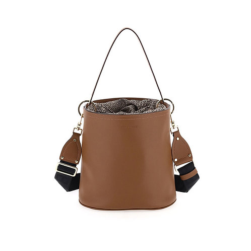 BORBONESE. Muffin Small. Leather Bucket Bag