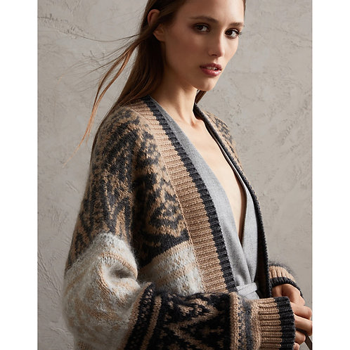 BRUNELLO CUCINELLI. Intarsia Cardigan in Alpaca, Cashmere and Wool
