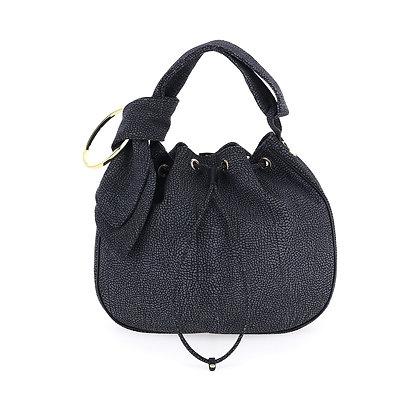 BORBONESE. Black OP Suede Medium Bucket Bag.
