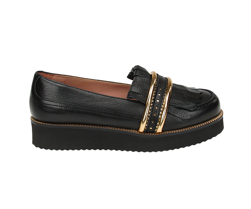 L'AUTRE CHOSE. Saratoga black leather loafer.