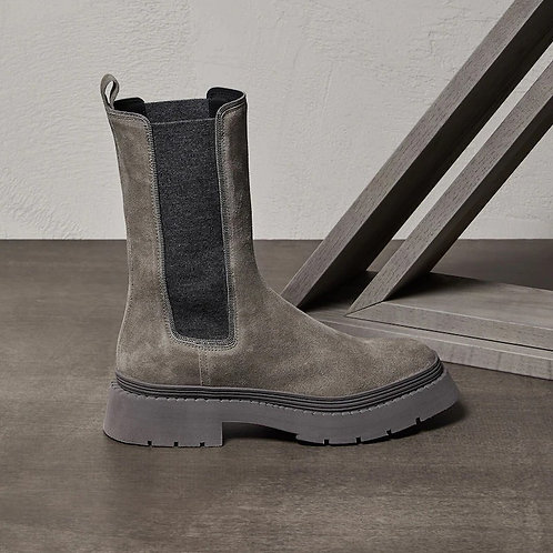BRUNELLO CUCINELLI. Suede Chelsea Boots with Shiny Contour