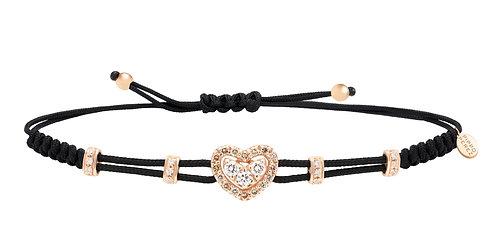 PIPPO PEREZ. Small Heart Bracelet with Diamonds and Brown Diamonds