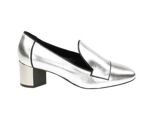 PIERRE HARDY. Silver-plated leather loafer.