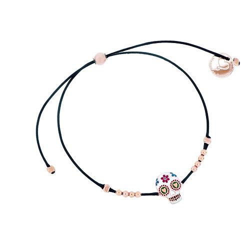 MAMAN ET SOPHIE TULUM. Nylon Thread Skull Bracelet with Spheres