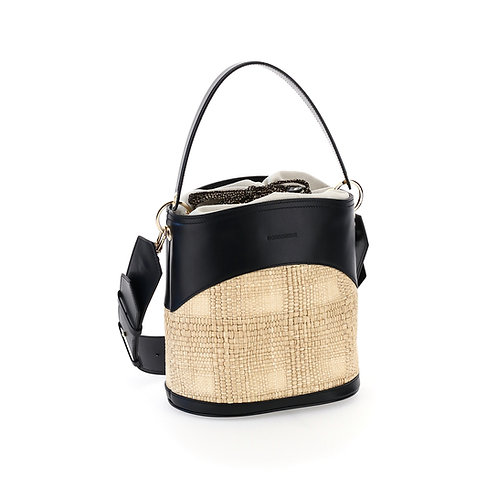 BORBONESE. Muffin Small. Straw Canvas and Leather Bucket Bag