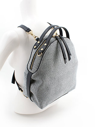BORBONESE. Medium Backpack in Oplà Leather.