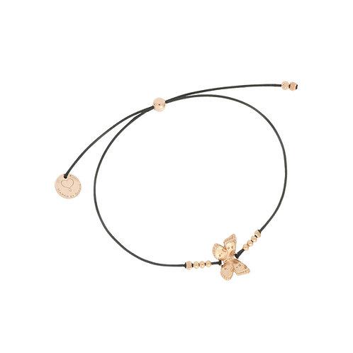 MAMAN ET SOPHIE FARFALLE. Nylon Black Thread Bracelet with Butterfly